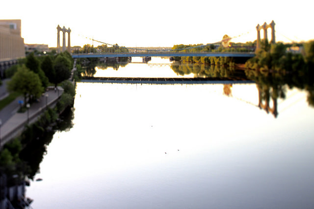view of the Third Avenue Bridge in Minneapolis
